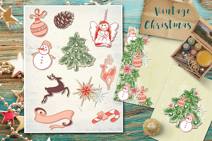 Vintage Christmas Design Elements