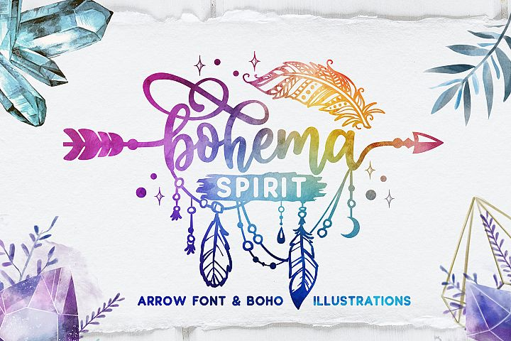 Bohema Spirit font and illustrations