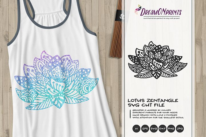 Lotus Zentangle SVG Cut File - Free Design of The Week