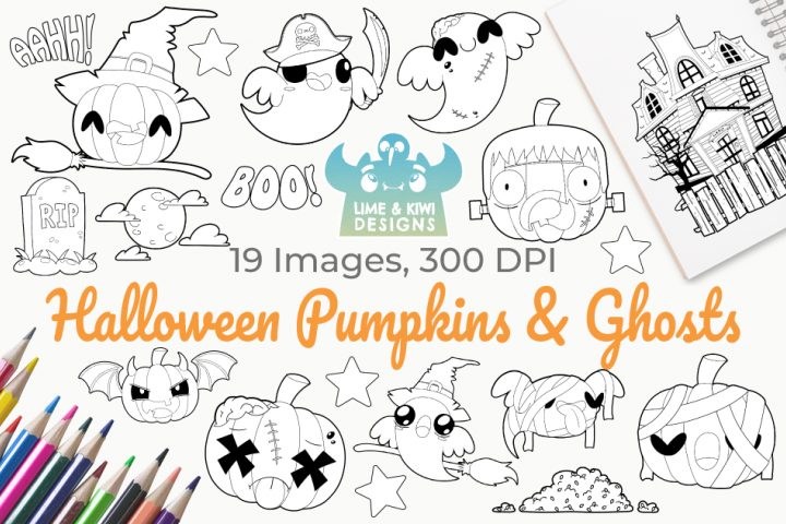 Halloween Pumpkins and Ghosts Digital Stamps