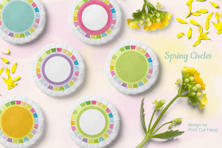 Spring Circle Frames Clipart Set of 24 PNG files