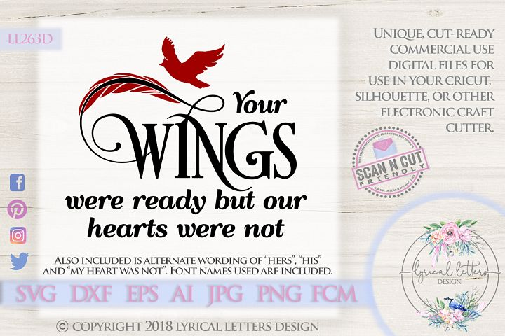 NEW! Your Wings Were Ready Cardinal SVG DXF LL263D