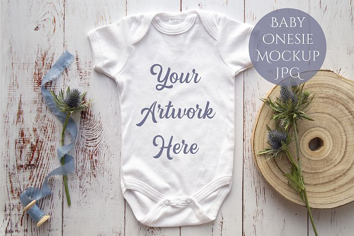 Onesie, Infant bodysuit Mockup, Sea Holly