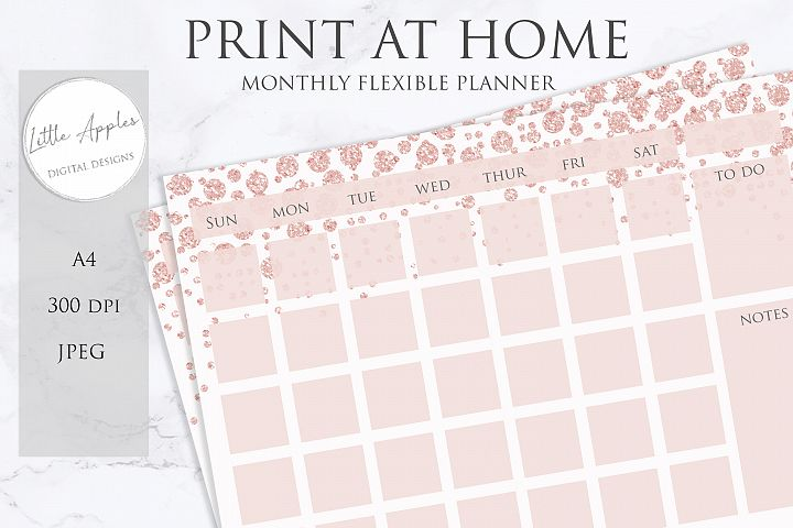 Printable Flexible Monthly Wall Planner Calendar. rose gold