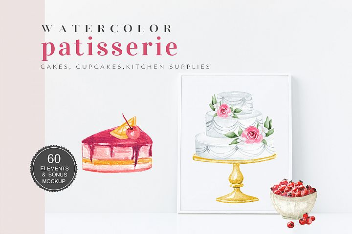 Watercolor Patisserie Cake Cliparts Wedding Cakes