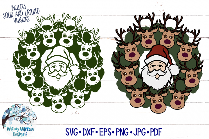 Santa Claus and Reindeer Christmas Wreath SVG File