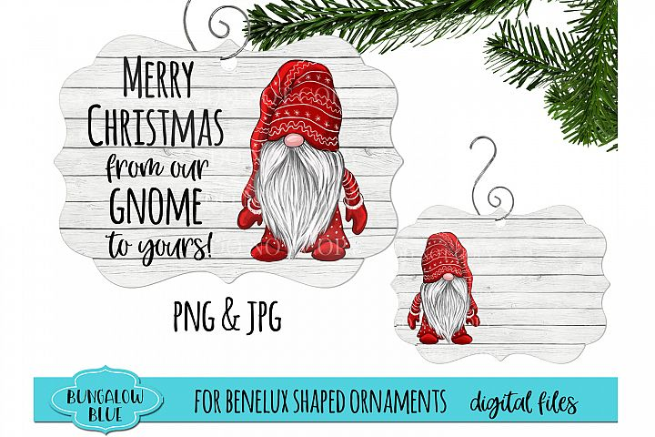 Merry Christmas From Our Gnome to Yours Ornament Design