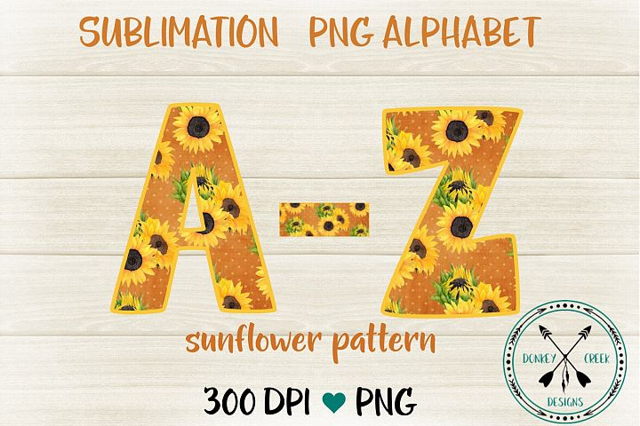 Sunflower pattern PNG Alphabet for Sublimation