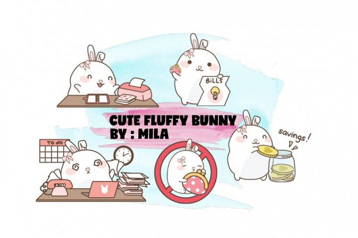 KAWAII BUNNY CLIPART BUNDLE PNG