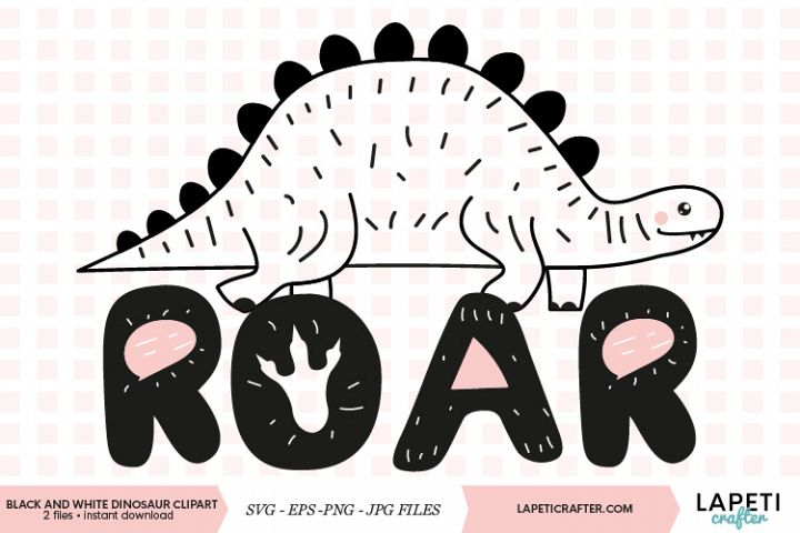 Black and white dinosaur clipart with transparent background