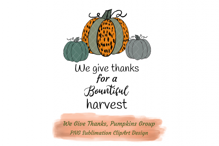 We Give Thanks Pumpkins Group Sublimation Cheetah Pattern