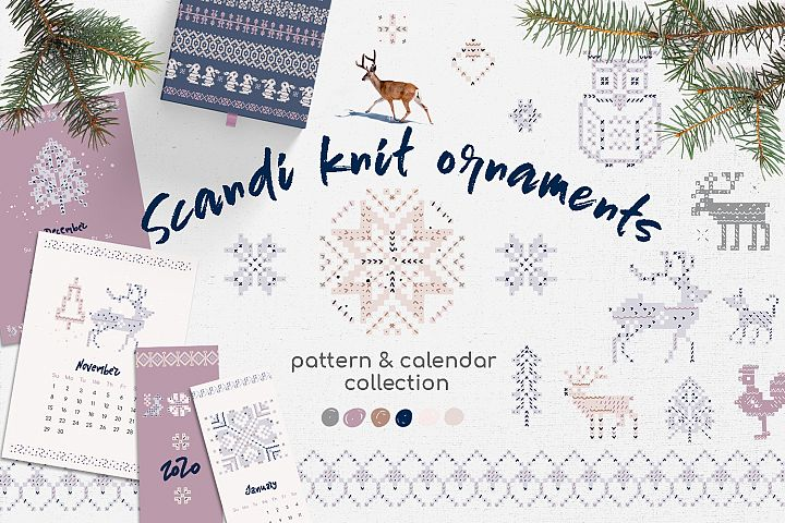 Scandi knit ornaments collection