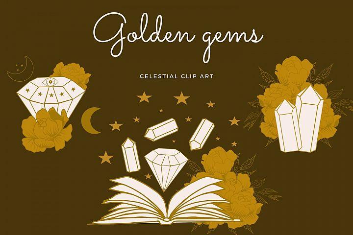 Golden gems and flowers clip art