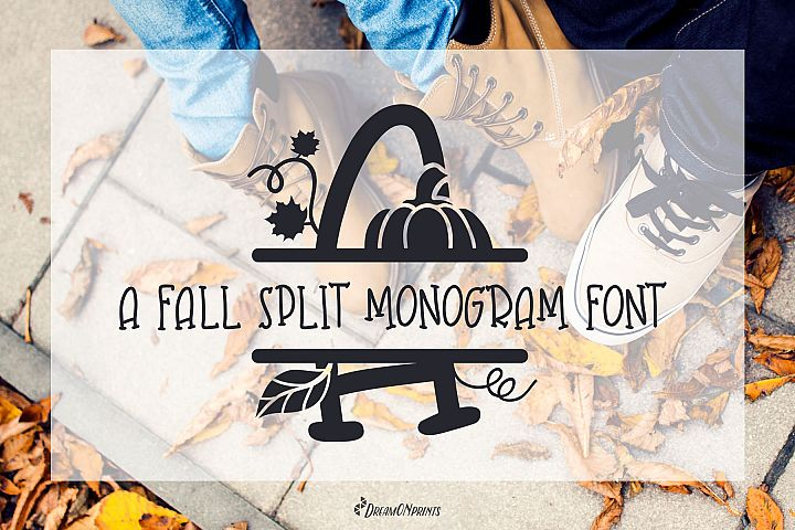 Fall Leaves - Split Monogram Font