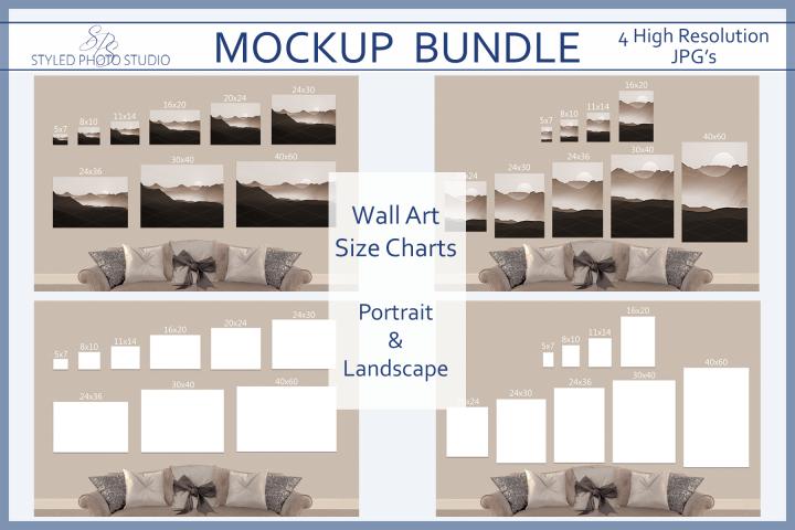Size Chart Poster Mockup, Landscape / Portrait Picture Sizes