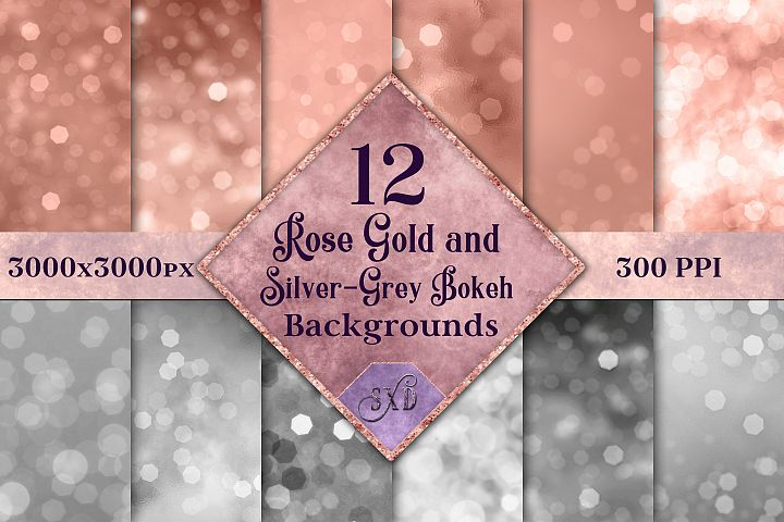 Rose Gold and Silver-Grey Bokeh Backgrounds - 12 Image Set