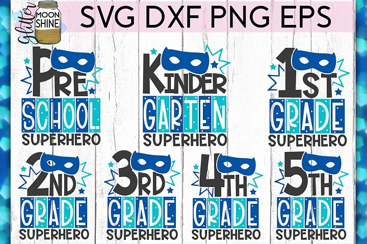 School Superhero Bundle of 7 SVG DXF PNG EPS Cut Files