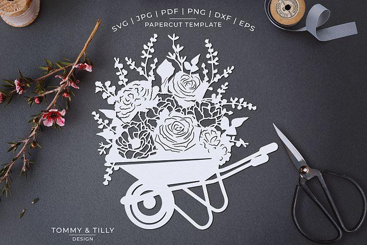 Romantic Floral Wheelbarrow - Papercut Template SVG JPG PNG