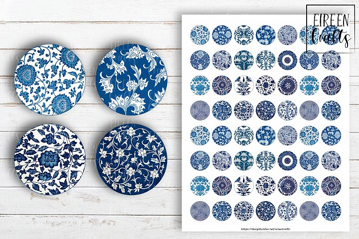 Chinese Ornaments Circles Collage Sheet for Jewelry Making