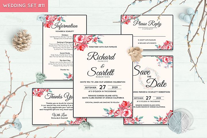Wedding Invitation Set #11 Watercolor Floral Flower Style