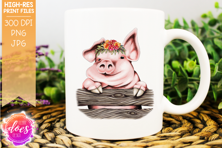 Cute Hand Drawn Pig with Flowers A - Printable Design