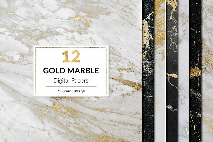 Gold Marble Digital Paper, Gold Marble Textures