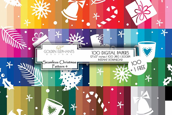 100 Seamless Christmas 4 Background Digital Paper