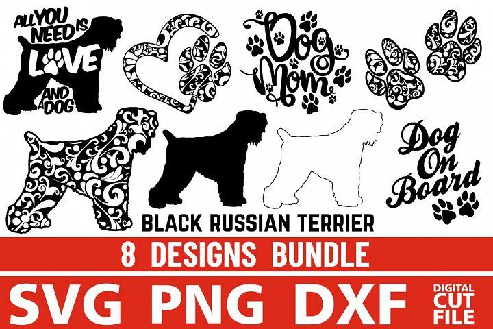 8x Black Russian Terrier Bundle svg ,Dog Shapes svg, Vector