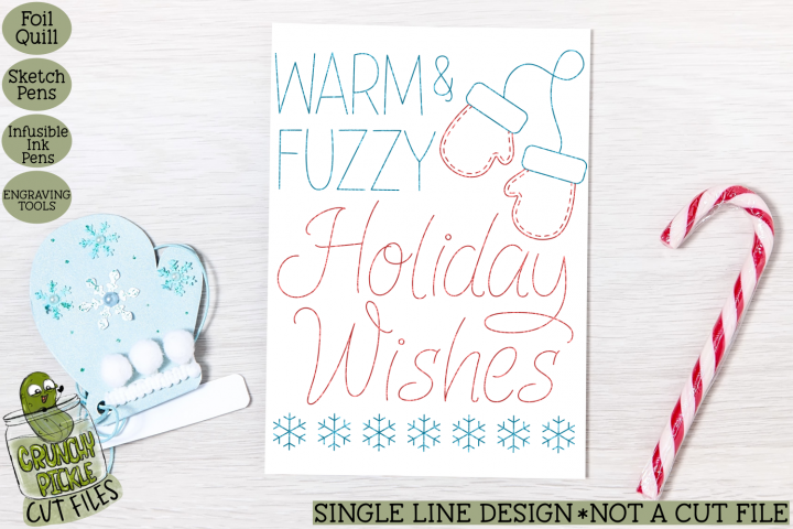 Foil Quill Christmas Card - Warm and Fuzzy / Single Line Ske