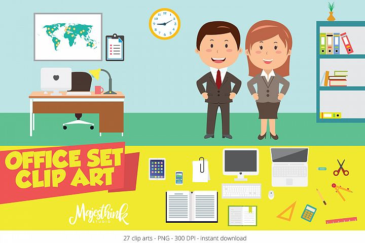 OFFICE SET Clip Art - with desk, stationery, computer elements
