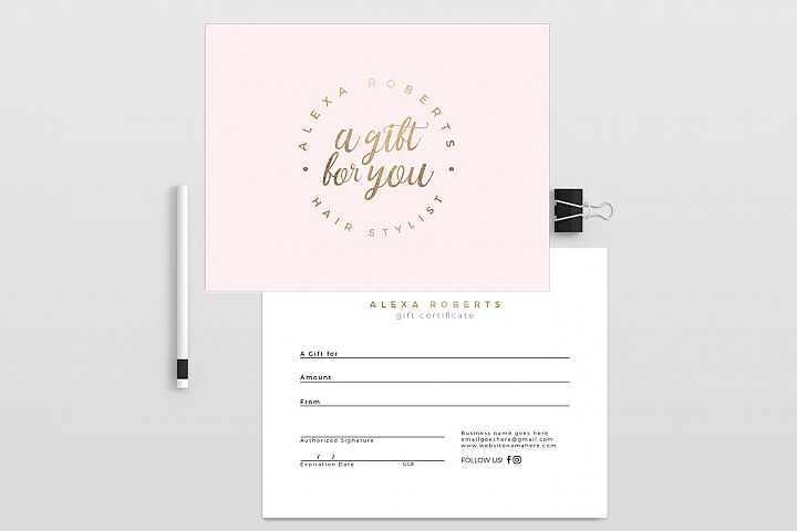 Millas V2 gold double sided gift certificate template