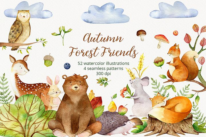 Forest Cute Animals. Autumn Patterns