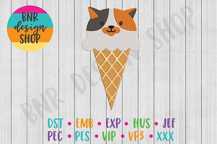 Cat Ice Cream Machine Embroidery Design