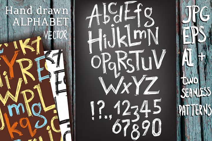 Vector hand drawn latin alphabet example