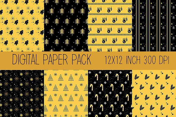 Christmas Digital Paper, Gold and Black Digital Paper