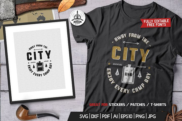 Away From The City, Camping Retro Adventure TShirt Logo SVG