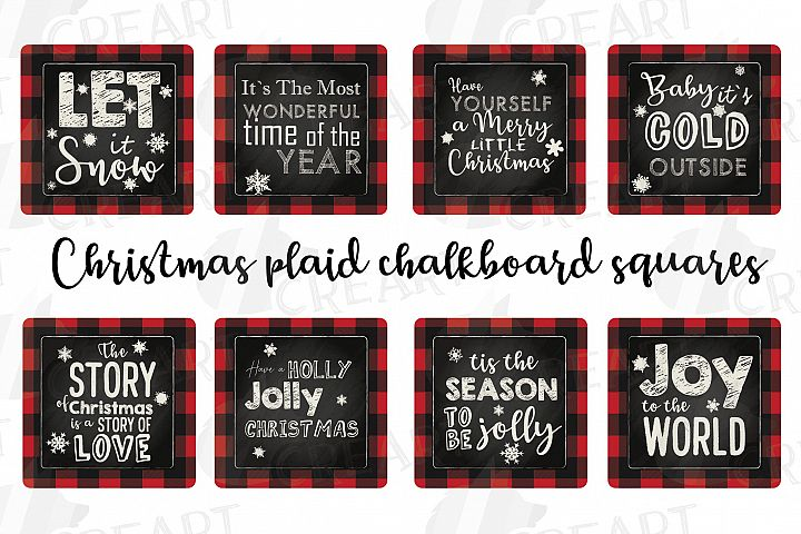 Christmas squares plaid chalkboard cards. Coaster graphic.