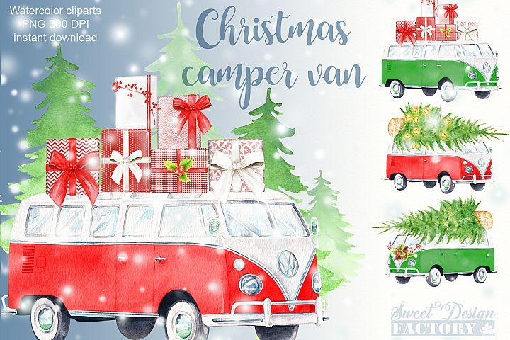 Christmas retro van cliparts