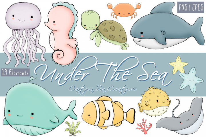 Under The Sea | Cartoon Sea Creatures | 13 Clip Art Elements