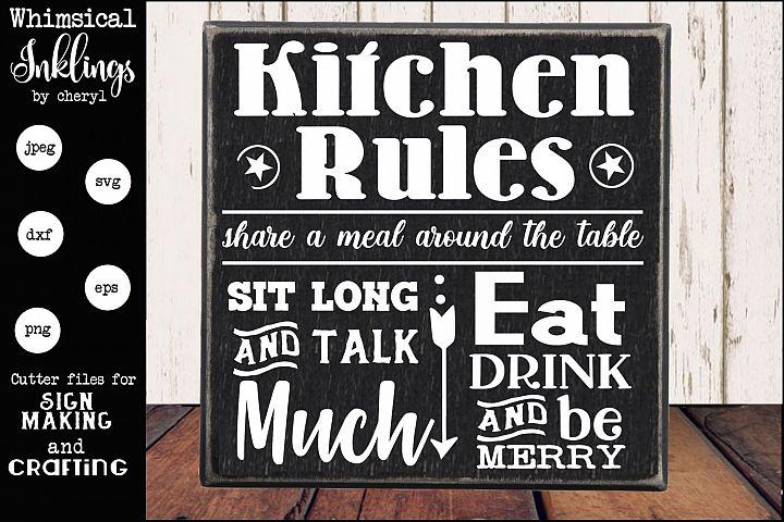 Sit Long Talk Much Kitchen Sign SVG
