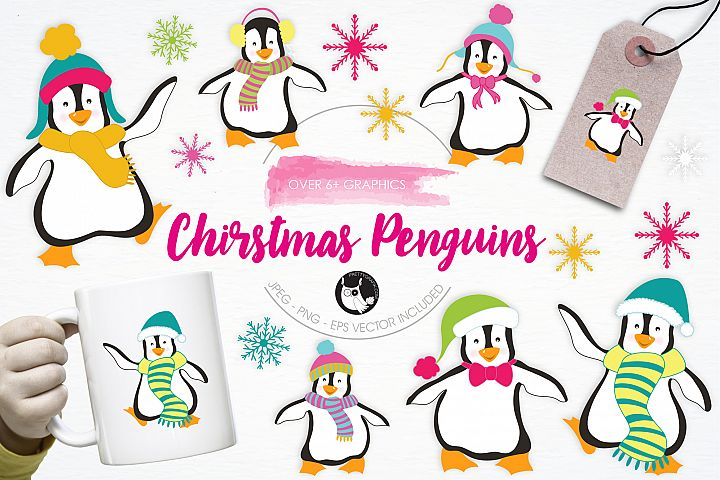 Christmas Penguins graphics and illustrations