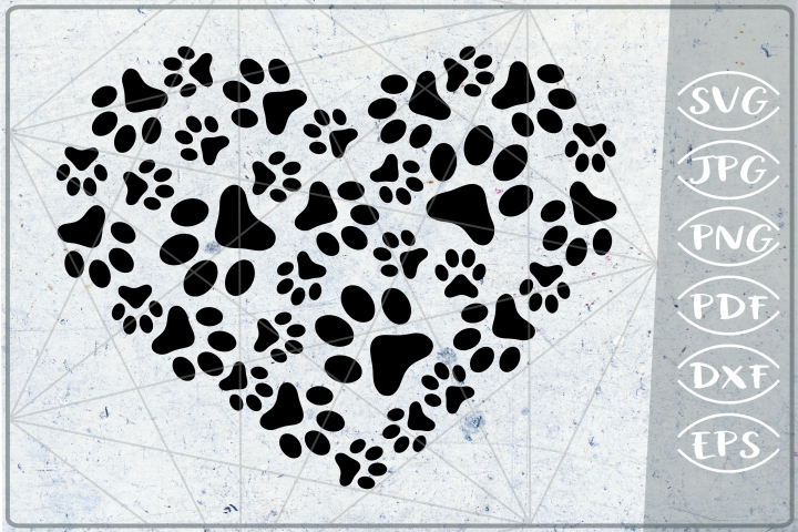 Paws Print Heart SVG Cutting File - Love Paw Heart SVG- Love