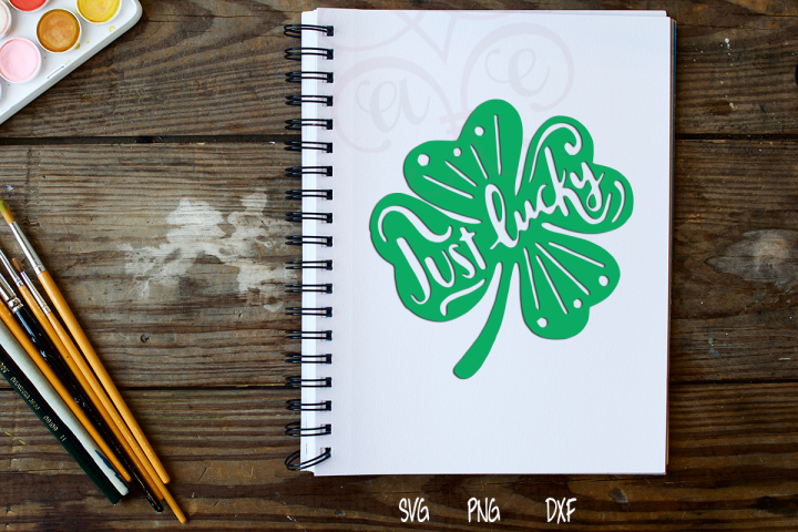 Just Lucky Hand-lettered Shamrock SVG