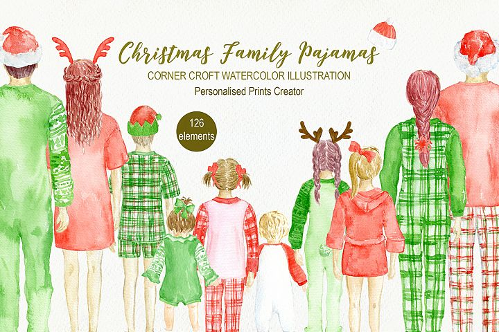 Christmas Family in Pajamas Watercolor Illustration