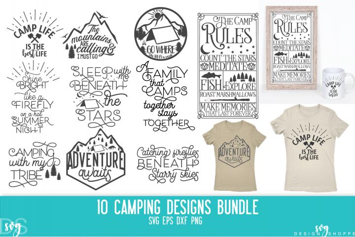 Camping, Bundle, Tent, Camper, SVG, PNG, DXF, EPS