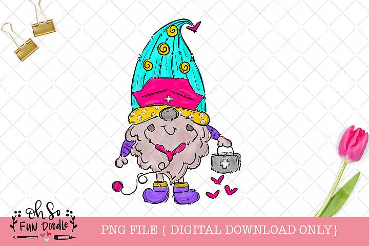 Nurse gnome, sublimation t shirt design, nurse png