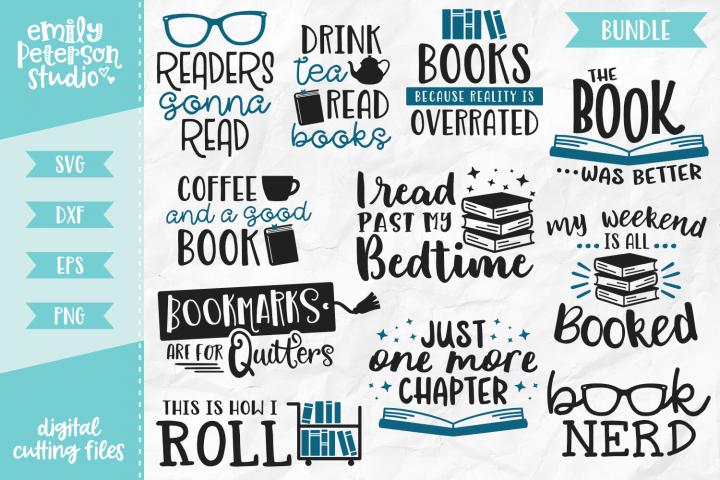 Book Lover Bundle 11 Designs SVG DXF EPS PNG