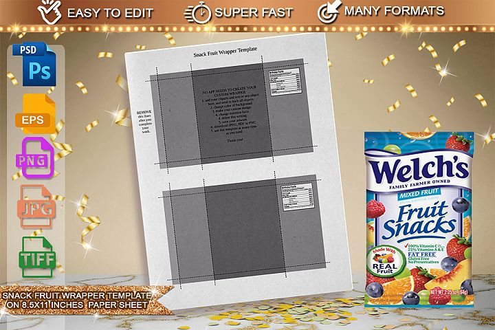 Snack Fruit Wrapper Template