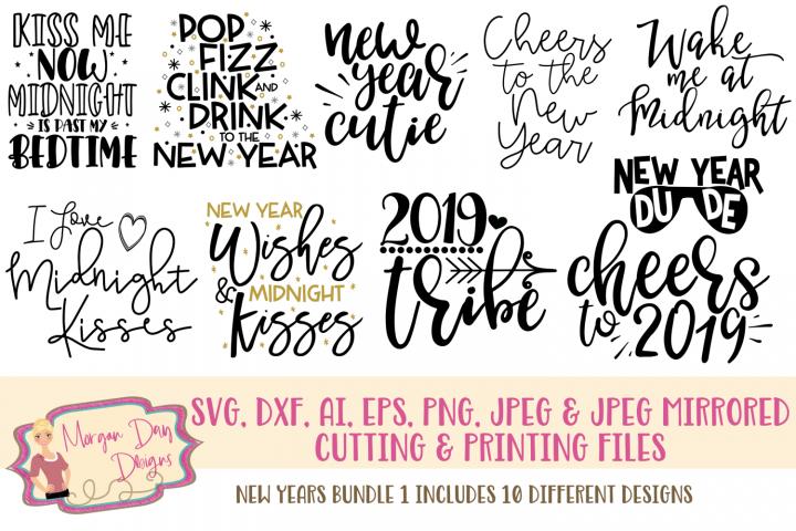 New Years Bundle 1 SVG, DXF, AI, EPS, PNG, JPEG