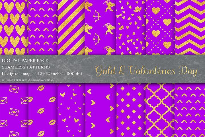 Gold Geometric Digital Papers, Violet Patterns